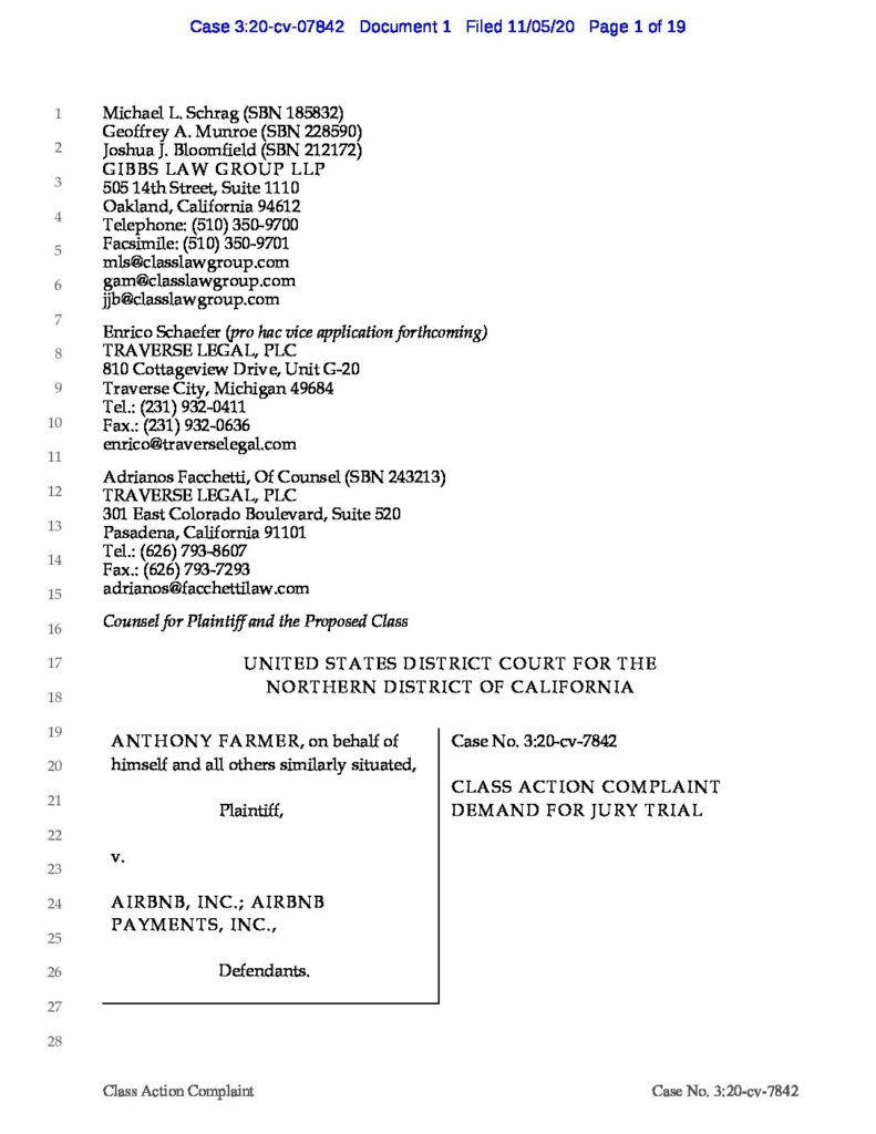 Class Action Complaint Against Airbnb lawyers attorneys case